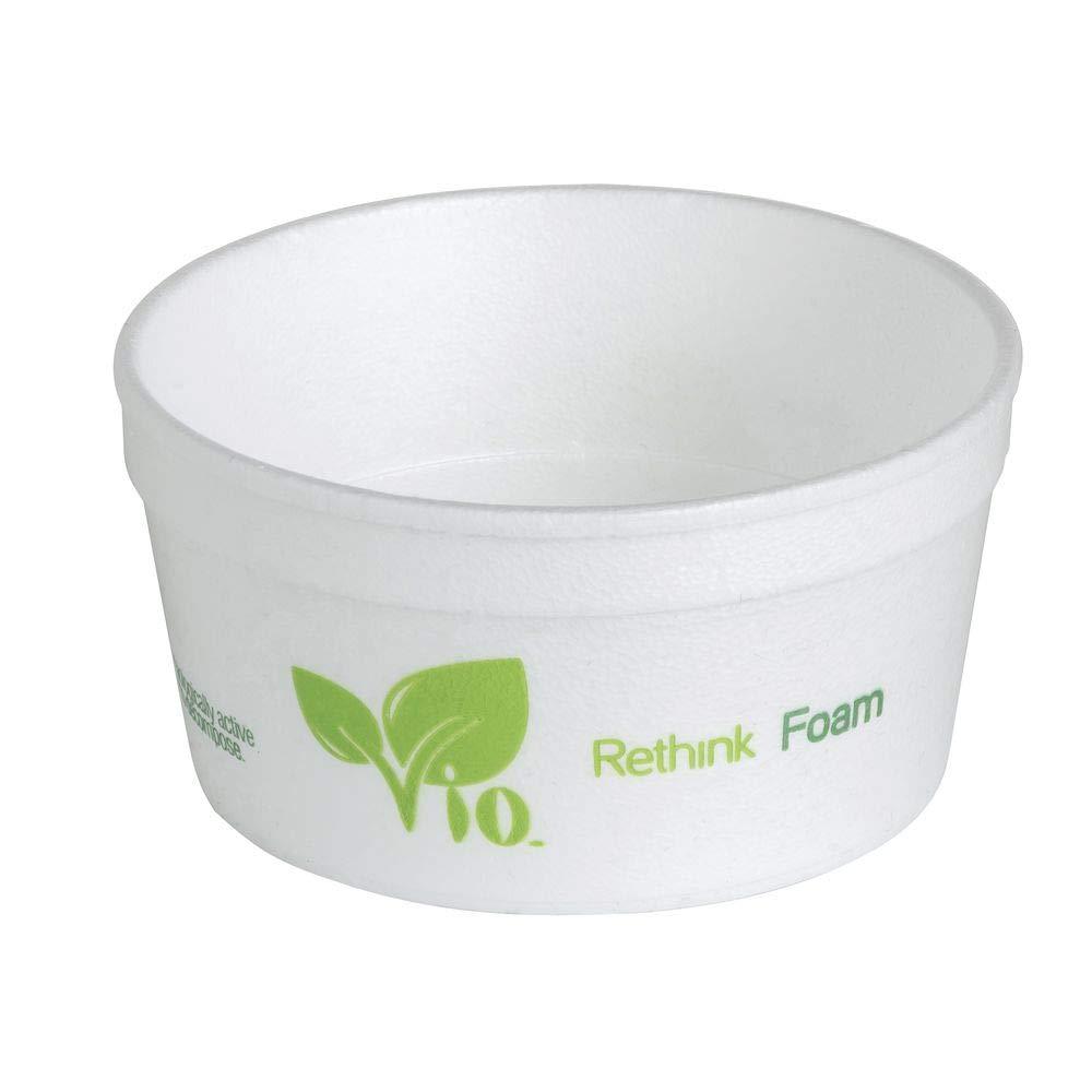 8 oz VIO Biodegradable Foam Hot Food Container - 3 7/8