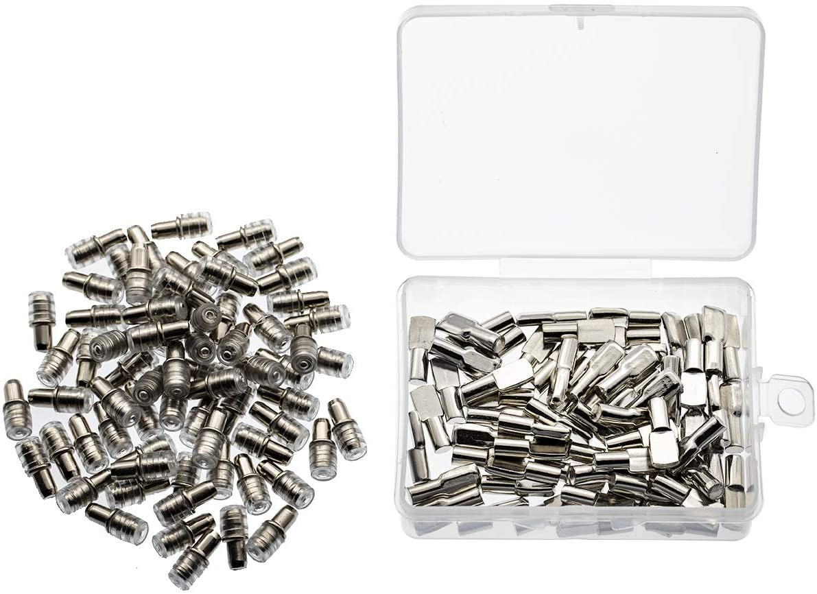 130pcs Shelf Bracket Pegs Pins Support for Cabinet Furniture, Nickel Plated