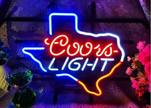 Texas FINEON Real Glass Neon Light Sign Home Beer Bar Pub Recreation Room Game Lights Windows Glass Wall Signs Party Birthday Bedroom Bedside Table Decoration Gifts (Not LED)