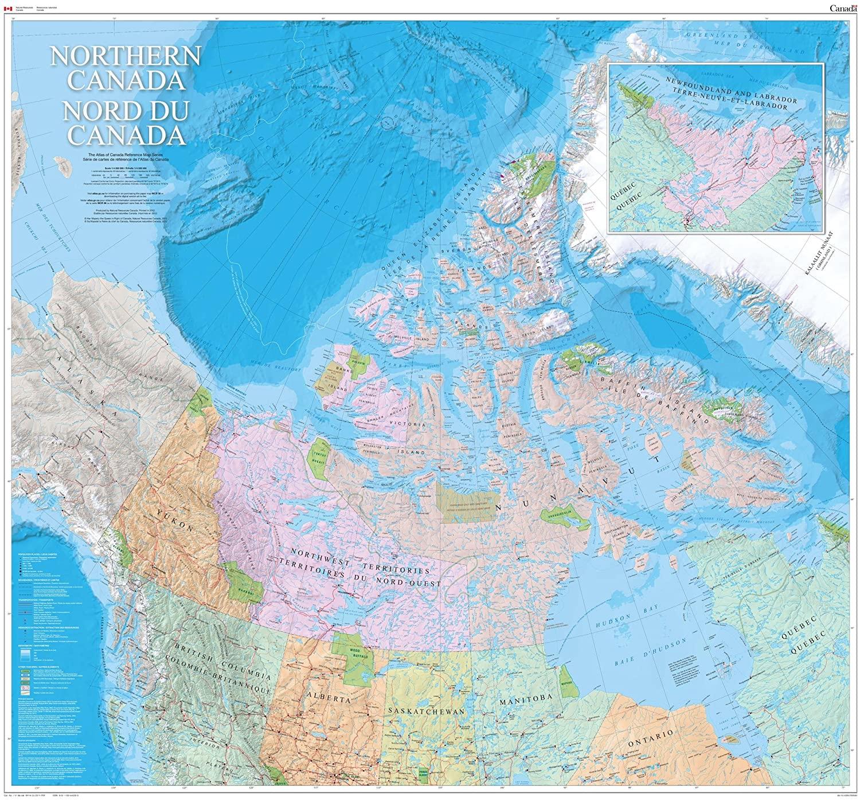 Northern Canada Wall Map - Bilingual - Atlas of Canada - 48