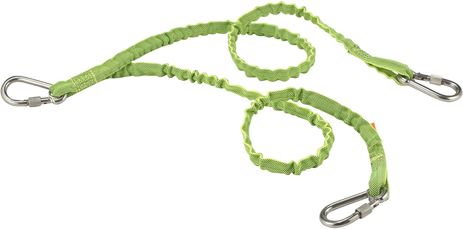 Ergodyne Squids 3311 Tool Lanyard with Twin Legs and Stainless Steel Locking Carabiners, 15 Pounds