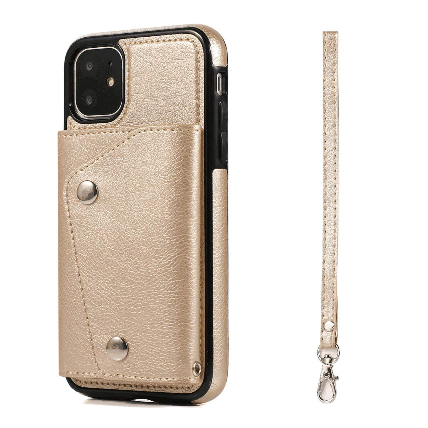 Leather Cover Compatible with Samsung Galaxy A50, Gold Wallet Case for Samsung Galaxy A50