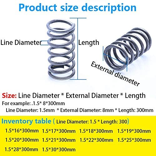 LF-Bolt, 1Pcs Compressed Long Spring Return Spring Line Diameter 1.5mm, External Diameter 16-30mm, Length 300mm Pressure Long Spring (Size : 1.5X17X300mm)