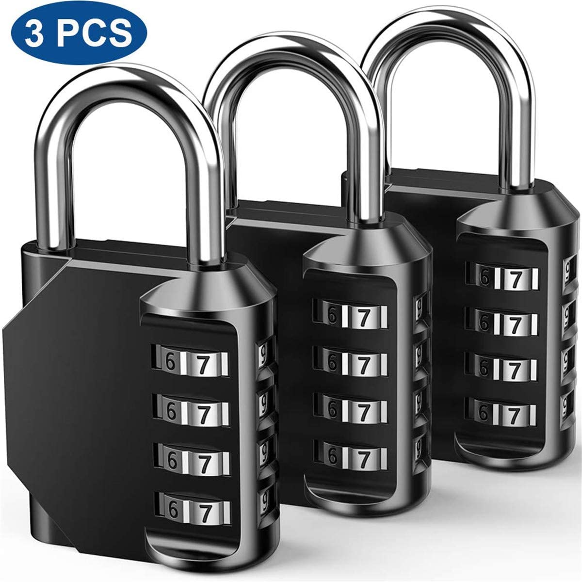 3 Pcs Zinc Alloy 4-Digit Combination Code Lock Minotaur Lock Widely Used in Wardrobe Door Gym Etc (3)