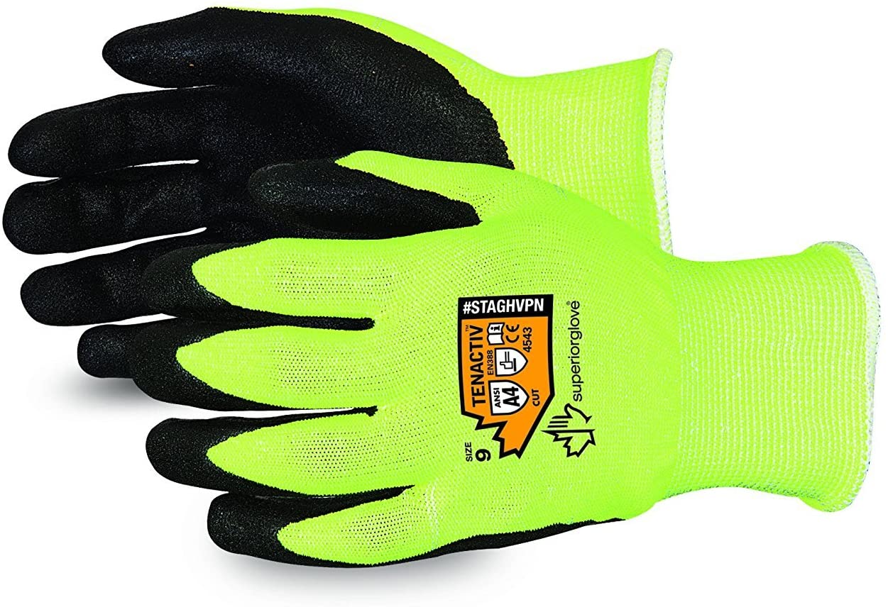 Superior TenActiv Hi-Viz Composite Knit Glove made with Micropore Nitrile Grip - High Visibility Safety Work Gloves (Size 10)