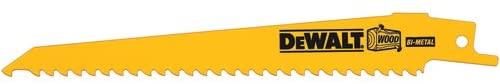 DEWALT DW4802B 6-Inch 6-TPI Taper Back Bi-Metal Reciprocating Saw Blade for General Purpose Wood Cutting, 100-Pack