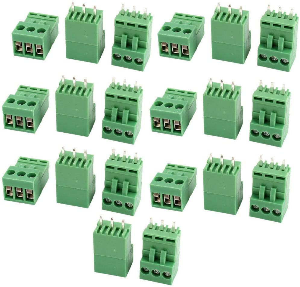 Electronic Components 20 Pcs Green AC 300V 10A 3P Pole PCB Screw Terminal Block Connector 3.96mm Pitch