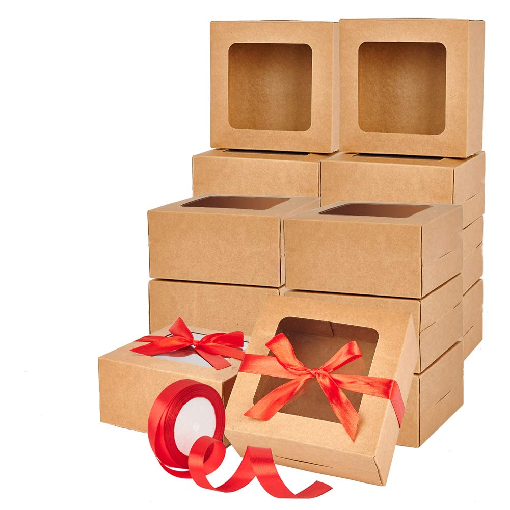 Brown Bakery Boxes 30Pcs,Cupcake Boxes 6x6x3 Inches,Cookies Boxes Gift Kraft Boxes with Window for Pastries, Small Cakes and Cookies,Cardboard Adjustable,Included Stickers and Ribbons