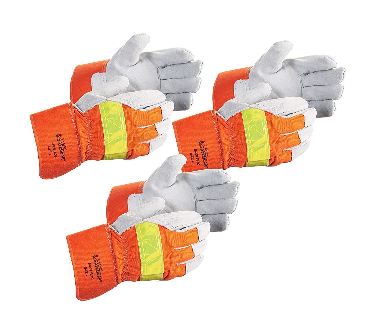SAFEGEAR 3-pk. Cowhide Split Leather Work Gloves - Large Hi Viz Safety Gloves for Men or Women - for Truck Driving, Construction, Welding, Gardening & More - J. J. Keller & Associates