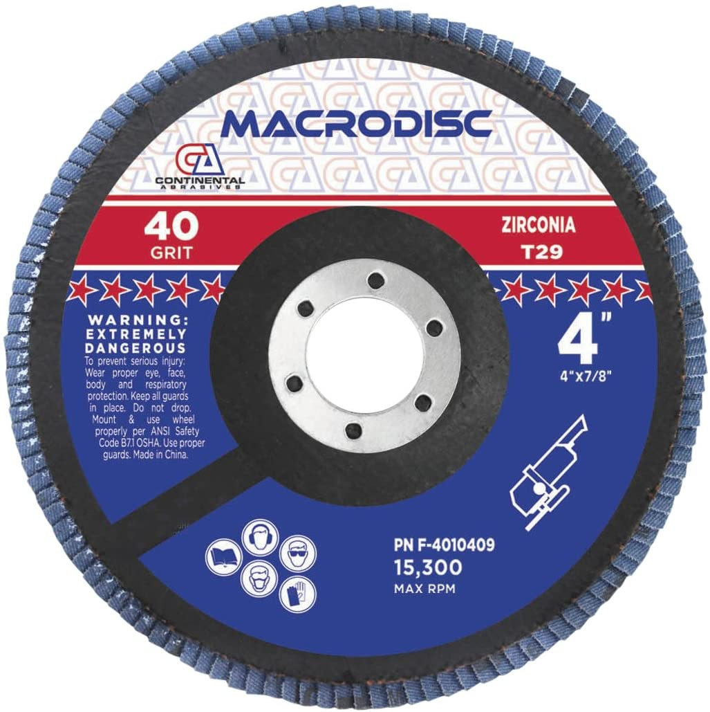 Continental Abrasives F-4010409 4-Inch by 5/8-Inch Type 29 Standard Flap Discs