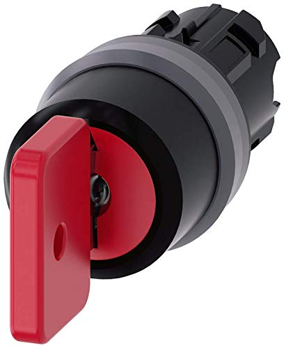 Siemens 3SU10304FL510AA0 Key-Operated Switch O.M.R, I-O-II, Plastic with Metal Front Ring, IP66, IP67, IP69K Protection Rating, Matte Metal, 22mm, Red