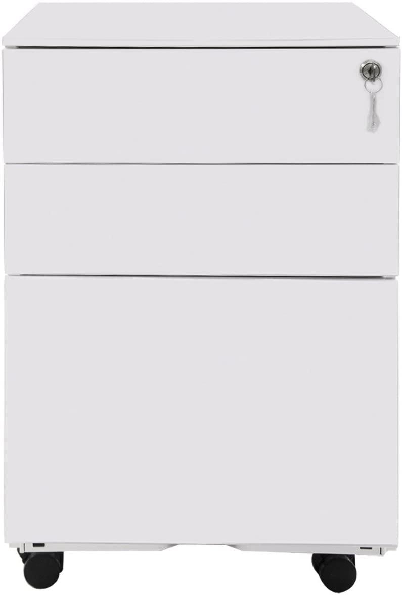 TREXM 3 Drawer File Cabinet Mobile Metal Lockable File Cabinet Under Desk Fully Assembled Except for 5 Castors (White)