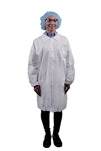 Keystone LC3-WE-KG-MED Key Guard Lab Coat, 3 Pockets, Snap Front, Single Collar, Medium, White (Pack of 30)