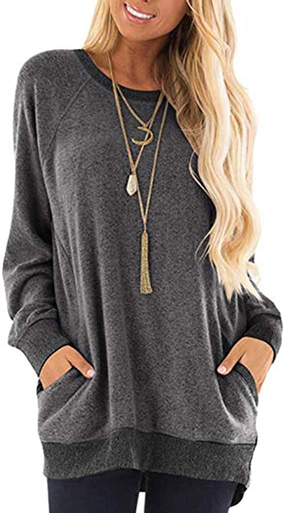 Kiyotoo Womens Casual Color Block Long Sleeve Round Neck Loose Pullover T Shirts Blouses Sweatshirts Tunic Tops with Pocket