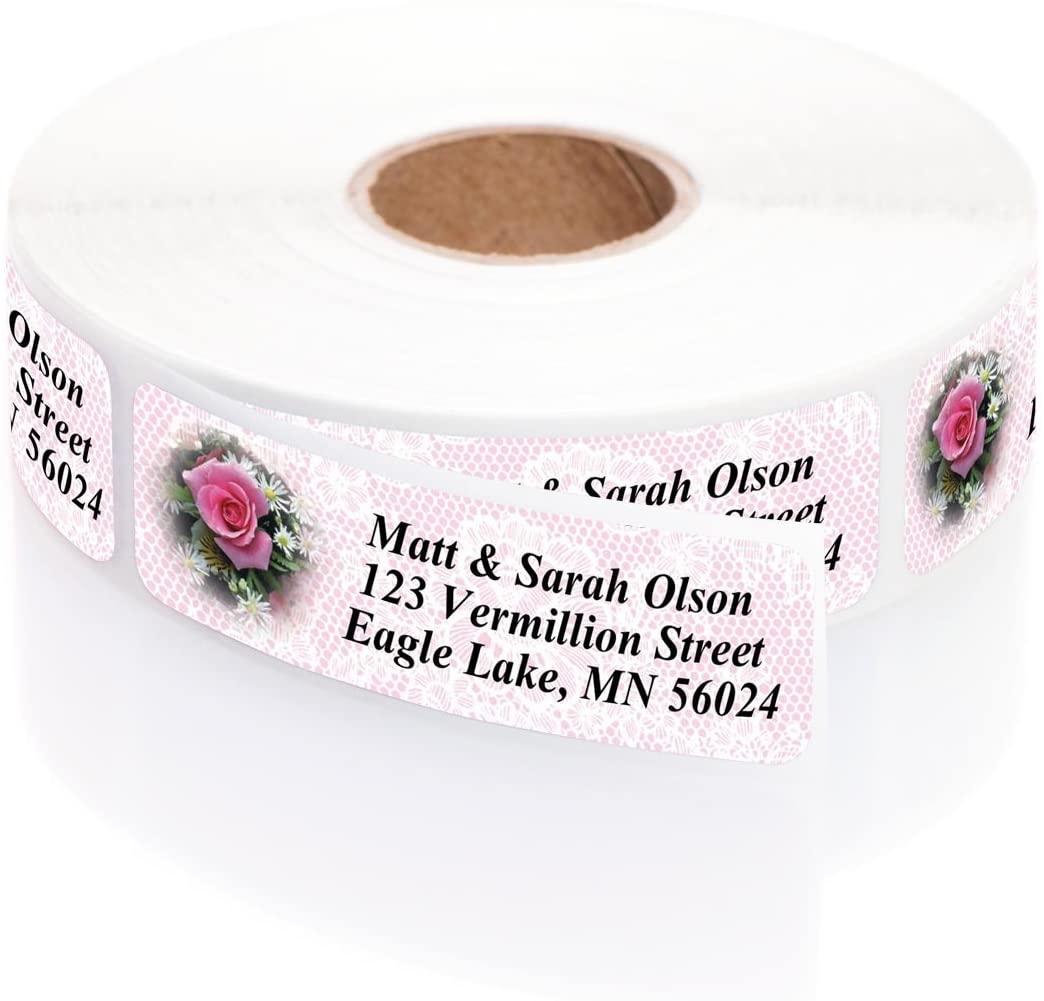Romantic Rose Designer Rolled Address Labels with Elegant Plastic Dispenser