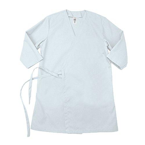Pinnacle Textile WR18 5.25 OZ POPLIN 65/35 Polyester/Cotton, Wraparound Gown NO Pockets-Medium-White