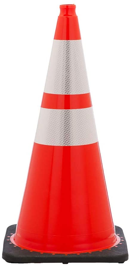 "RoadSafe Traffic Systems Plastic Orange Reflective Traffic Cones for Construction Safety & Traffic Control, 28"", 7lb. (1 Pack)"