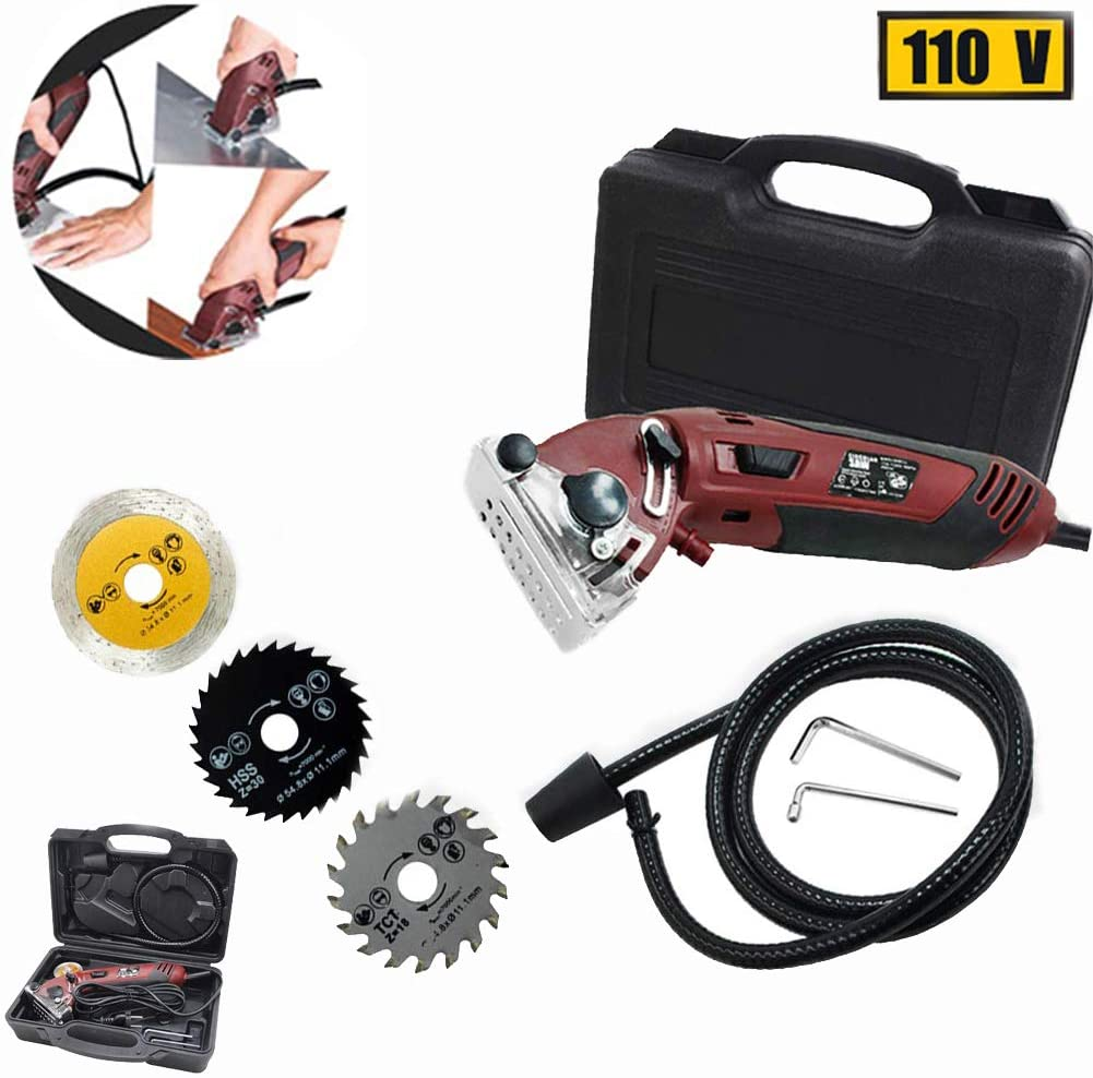Mini Circular Saw Set,Multi-Function Professional Compact Circular Saw with 3 Carbide Tipped Blade, Power Saws Circular Compact for Wood, Metal, Drywall,Tile and Plastic Cutting