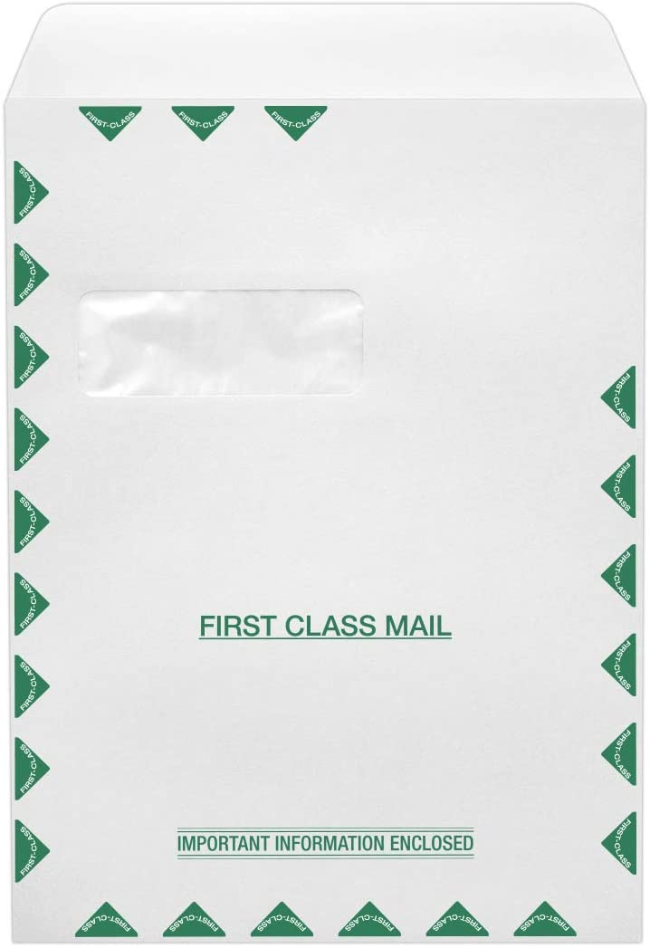 9 x 12 Open End Window Envelopes in 28lb. White - First Class for Mailing a Business Letter, Catalog, Financial Document, Magazine, Pamphlet, 1000 Pack, (White)