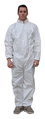 Majestic Glove 74-301/L Resistex PP/CPE Coverall, Large, White (Pack of 25)