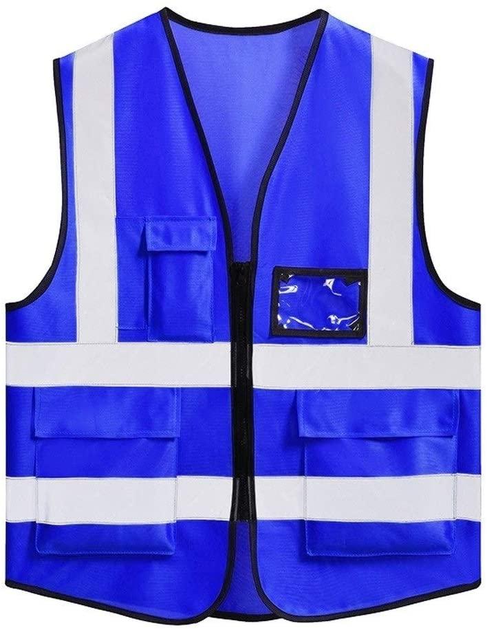 Safety Vest Workwear Vest Safety Vest, Lightweight and Breathable Multi-Pocket Overalls Night Travel Safety Reflective Safety Vest High Visibility Vest Paving Child Safety Vest (Color : Blue)