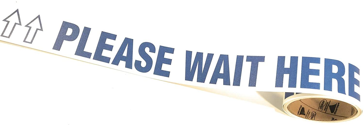 Please Wait HERE Floor Warning Tape WTP116-2.25 Inch x 55 Foot Roll (1 Roll) (30 Messages (Blue/White)