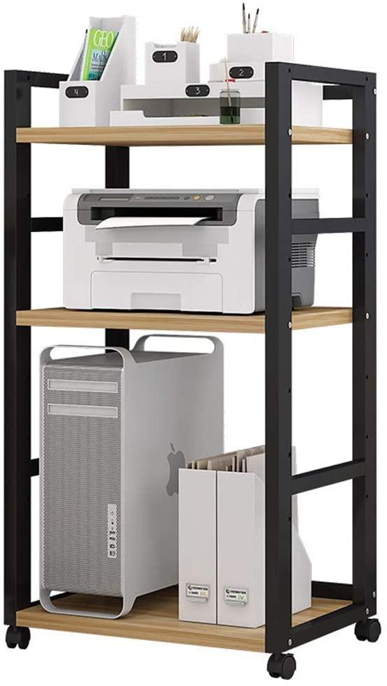 RuiXia Printer Shelf Solid Wood Multi-Layer Copying Rack Floor Three-Tier Rack Office File Storage Cabinet Stylish Floor-Standing Bookshelf