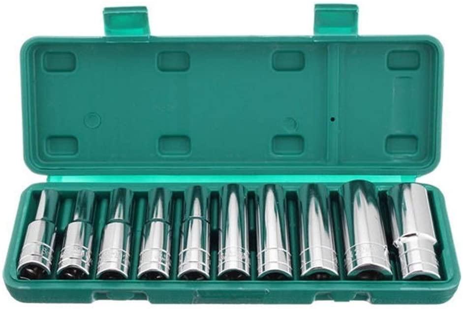 HYY-YY Tool 10pcs 1/2 Inch Drive Heavy Duty Deep Impact Sockets Set 6 Points Metric 8-24mm Socket Adapter Drill attachment