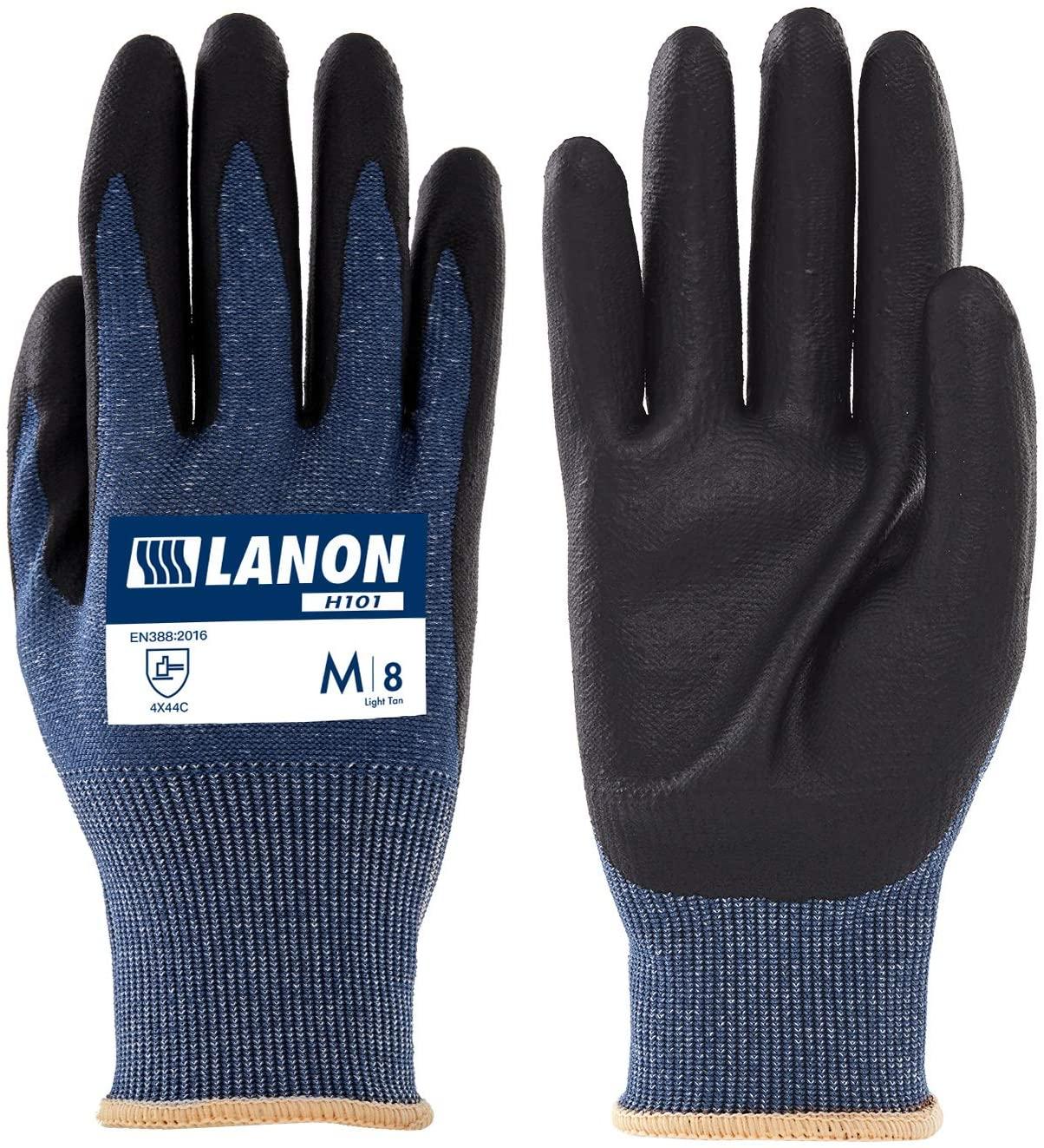 LANON Cut Resistant Gloves Level 5 with MicroFoam Nitrile Coated Palm, Garden Grip Safety Work Gloves, 13 Gauge, Non-Slip, Medium