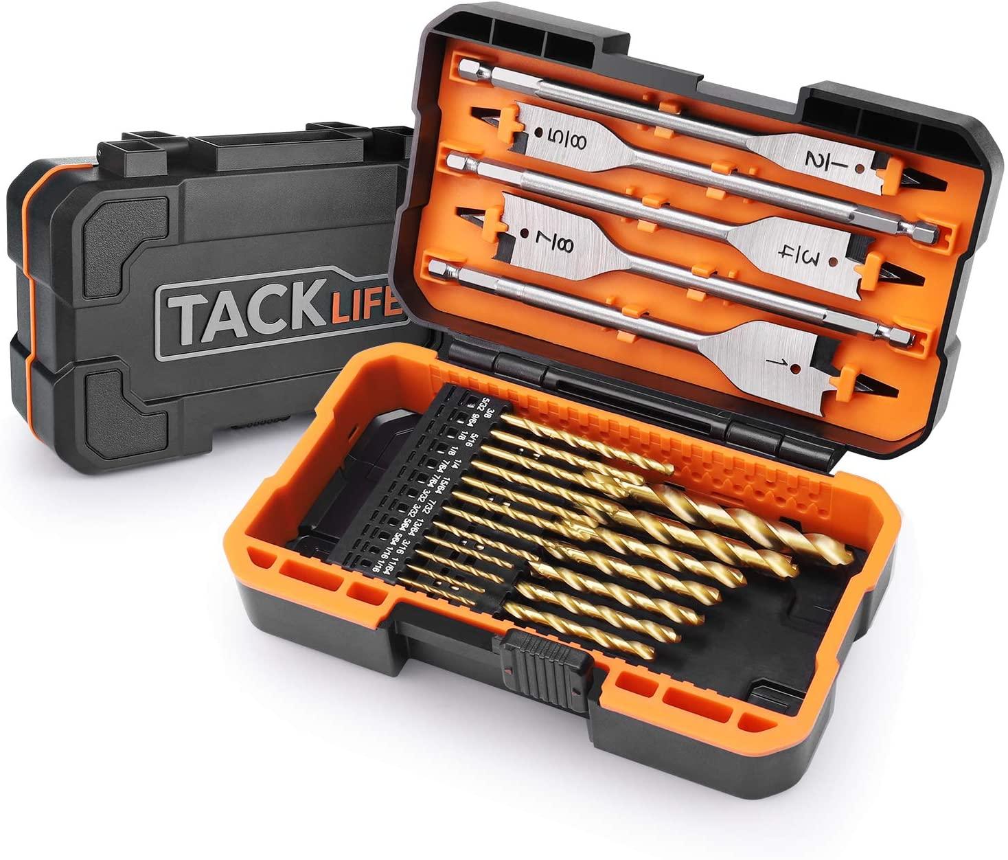 Drill Bits set, TACKLIFE DB01 Titanium Drill Bit Set 25 pcs-20pcs HSS Twist Drill Bits for Steel, Wood, Plastic,5 Spade Drill Bit Set for Wood,Advanced Set with Moulded Display Carry Case