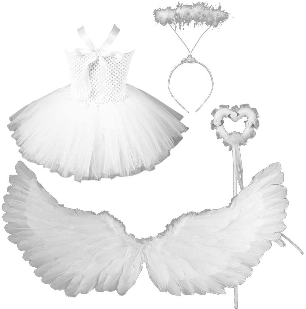 XISAOK Toddler Girls Angel Costume Set White Tutu Dress Feather Wings Headband Wand