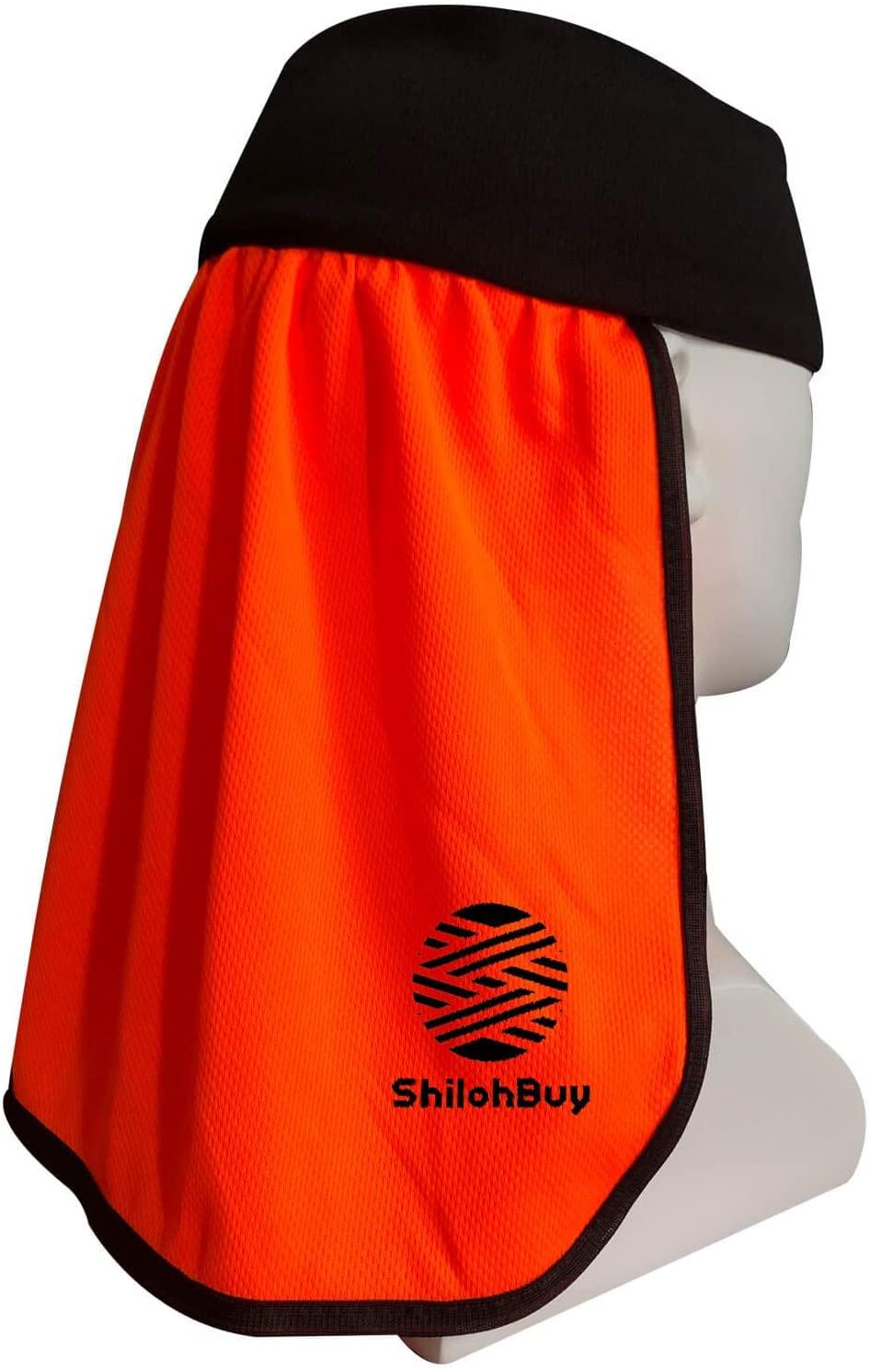 ShilohBuy - Hard Hat Sun Shade And Sweatband Liner, Neck Shade, Sun Shield For Safety Hard Hat Accessories, Neon Orange