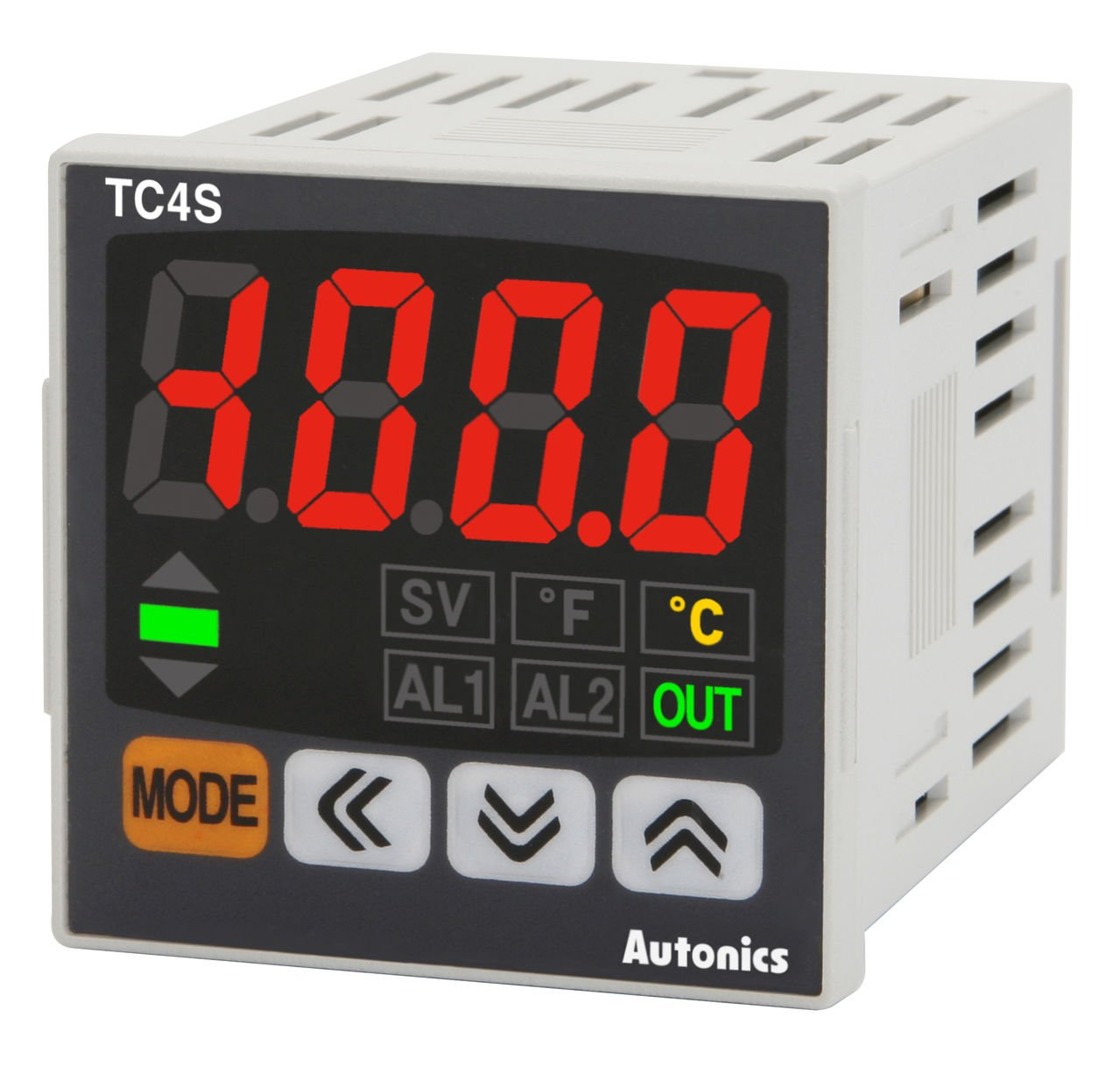 Autonics TC4SP-14R Temp Control, 1/16 DIN, 11 Pin, Single Display, 4 Digit, PID Control, Relay & SSR Output, 1 Alarm Output, 100-240 VAC (Socket Required)