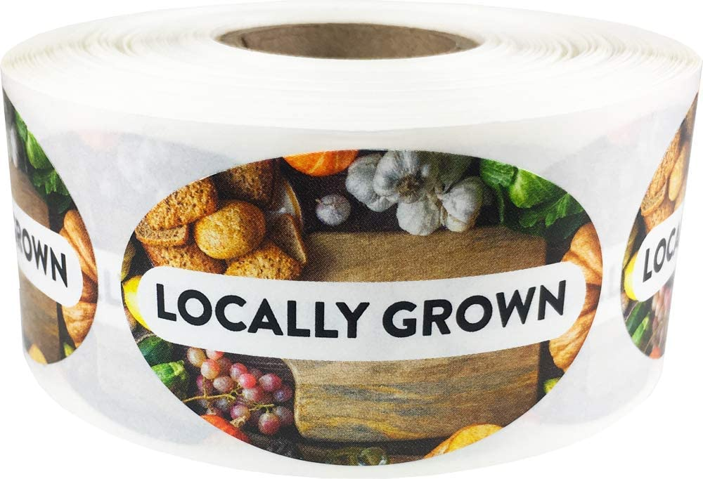 Locally Grown Grocery Store Food Labels 1.25 x 2 Inch Oval Shape 500 Total Adhesive Stickers