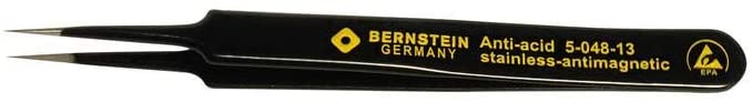 Bernstien SMD tweezers, 110 mm, straight, very sharply pointed, with ESD-coating