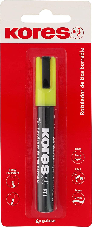 Kores 30212660. Liquid Erasable Chalk Marker RT1 Yellow. Reversible Tip