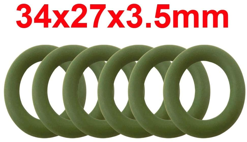 LF-Bolt, 10pcs 3.5mm Thickness FKM Green O Ring Seals Gasket Washer 34/35/36/37/38/39/40/41/42/43/44mm OD Fluorine Rubber O-Rings (Size : 34x27x3.5mm)