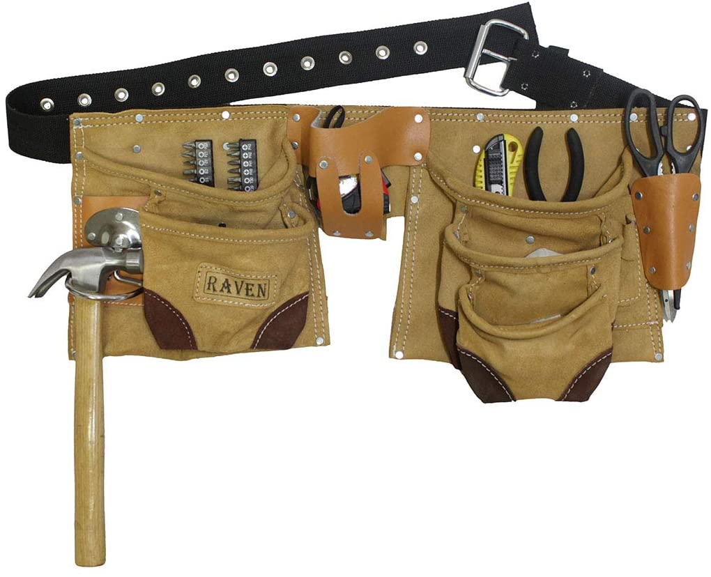 11 Pocket Brown Split Premium Leather Tool Pouch   Conventional Belt
