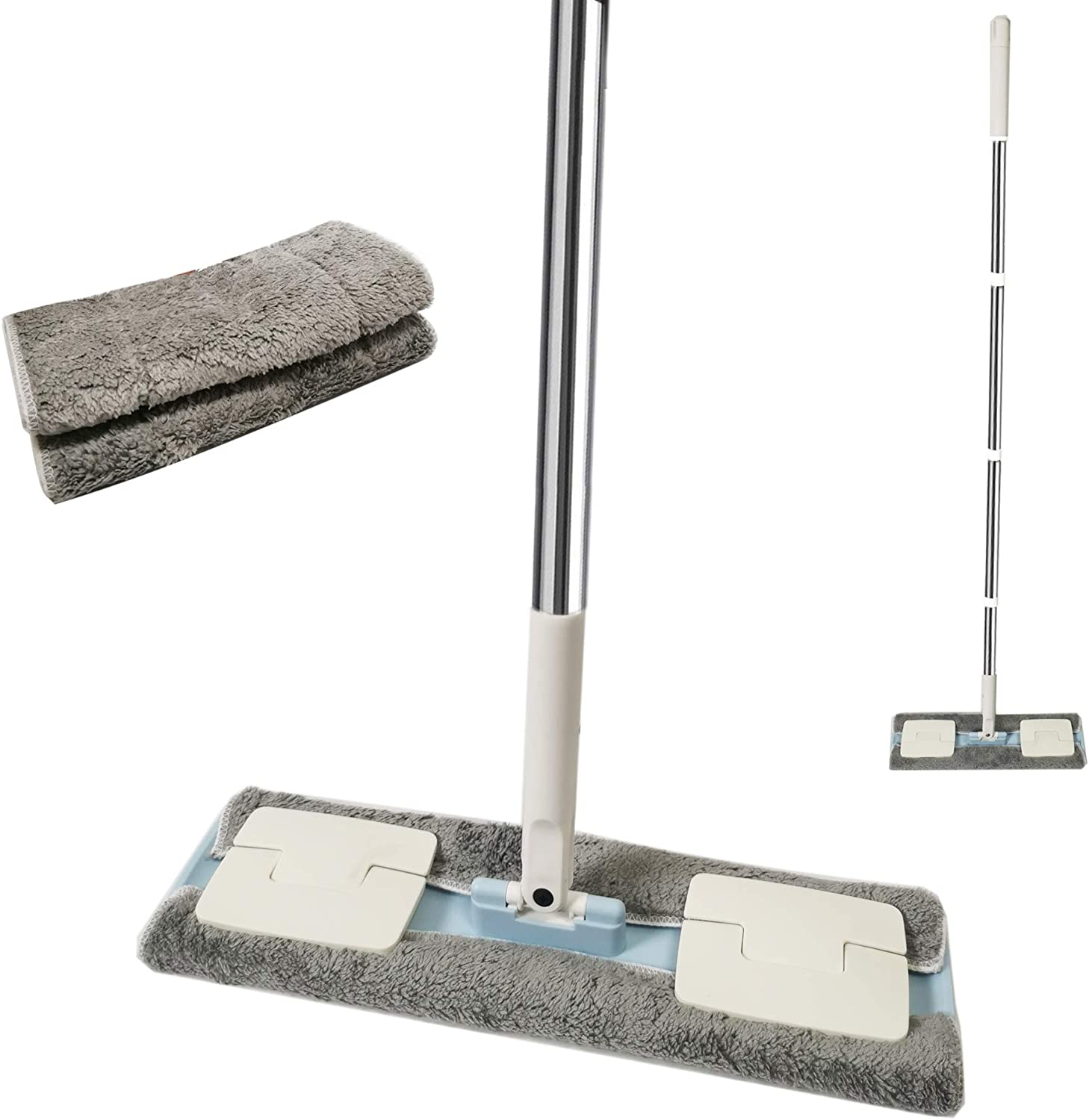 EZ SPARES Hardwood Floor Mop,with 2 Washable Wet/Dry Microfiber Pads,Stainless Steel Handle and Extension,for Home,Office Wet or Dry Floor,Swob for Tile Cleaning,Wall Cleaning(Blue)