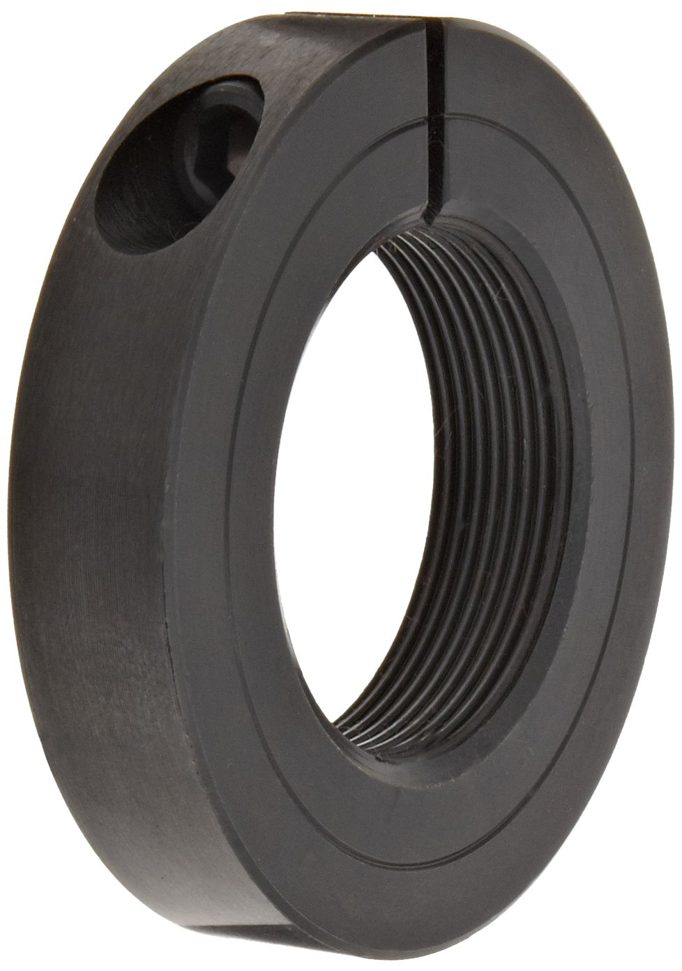 Climax Metal TC-112-12 One-Piece Threaded Clamping Collar with Recessed Screw, Black Oxide Plating, Steel, 1-1/8