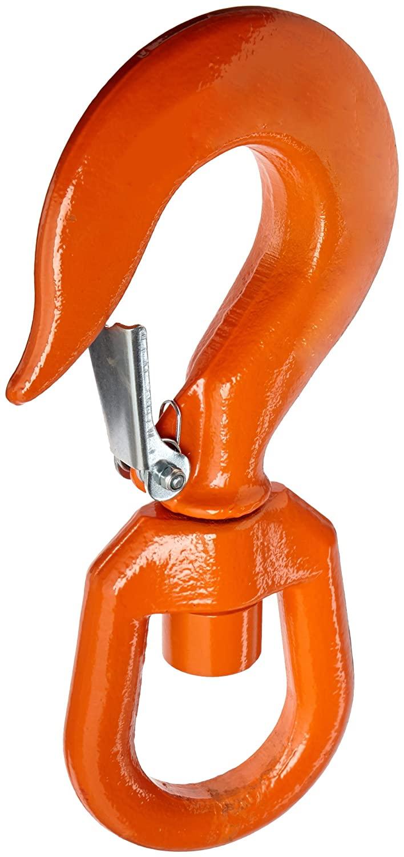 Indusco 47400956 Drop Forged Alloy Steel Swivel Eye Hook with Latch, 7 Ton Working Load Limit