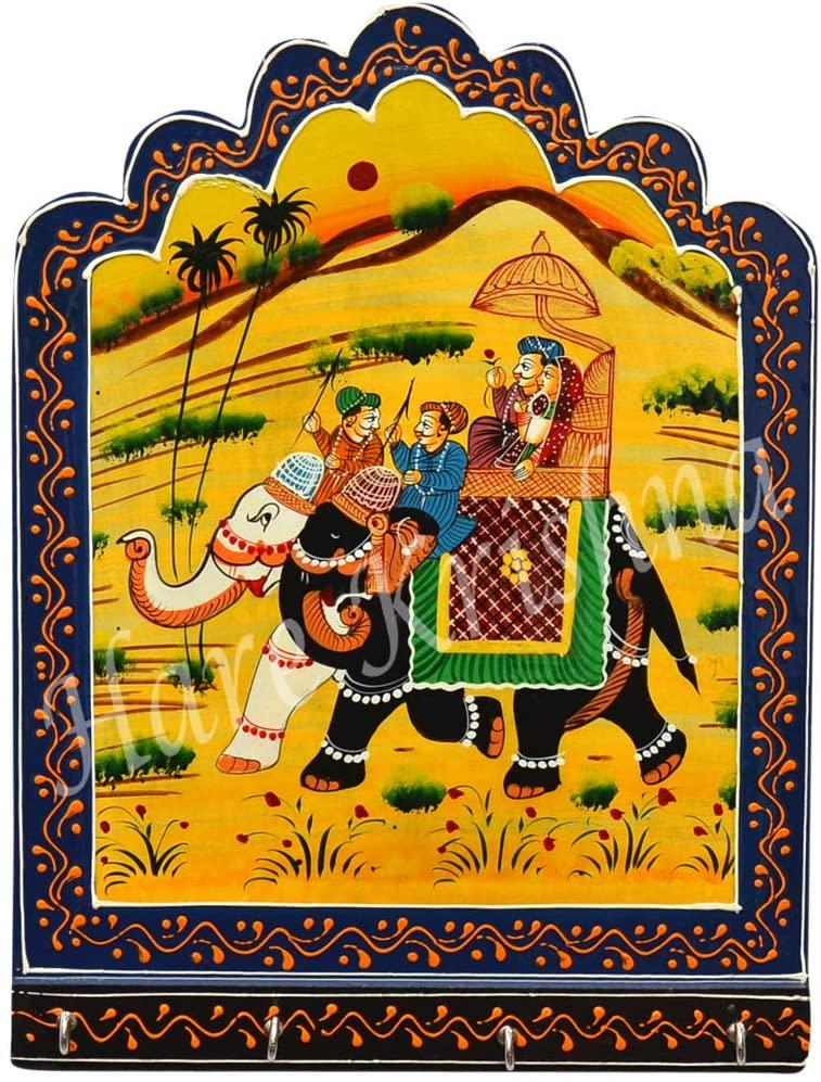 Hare Krishna Elephant Design Rectangle Shape Wooden Wall Decor Key Holder 12 x 9 Inches