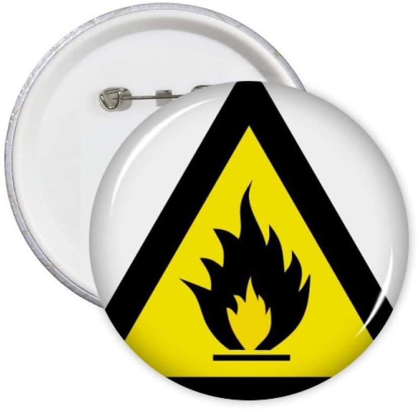 Warning Symbol Yellow Black Fire Triangle Pins Badge Button Emblem Accessory Decoration 5pcs
