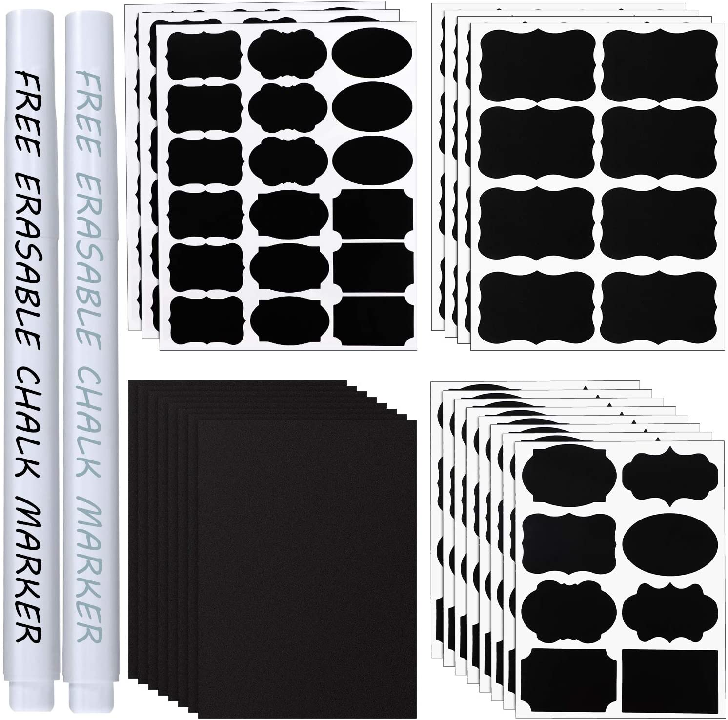 150 Pieces Chalkboard Labels Stickers Waterproof Reusable Blackboard Stickers and 10 Pieces Large Chalkboard Labels with 2 Pieces Erasable Chalk Pens for Jars Parties Craft Rooms Weddings Store