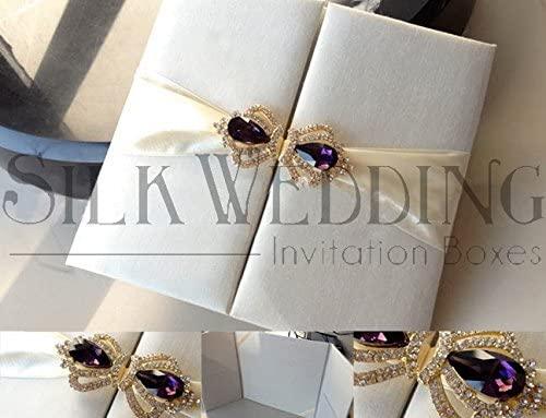 Ivory Silk Pocket Fold Adorned with Gold Amethyst Closure