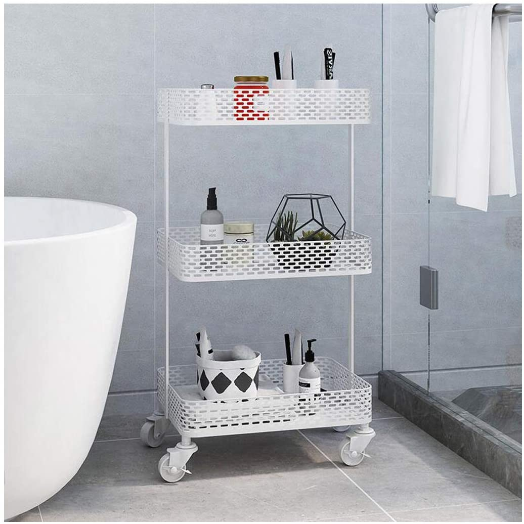 Qxx Nordic Iron Frame Floor Living Room Bedroom Bedside Multi-Layer Storage Rack Removable with Wheels (Color : White)