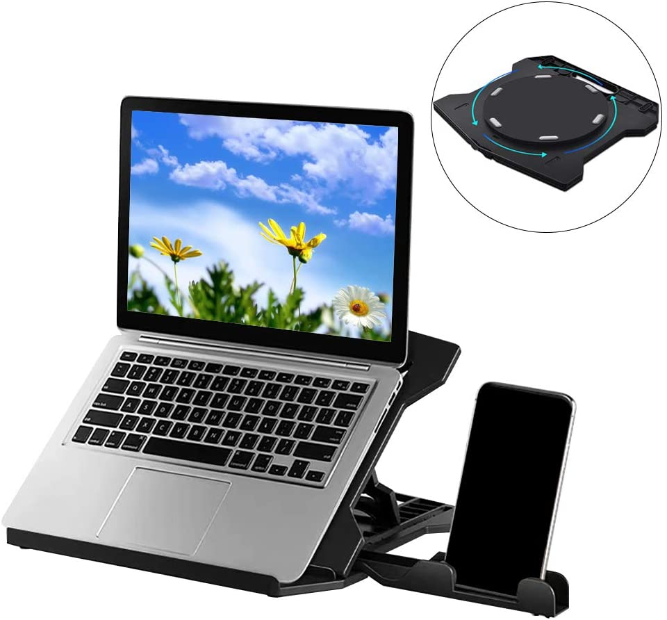Adjustable Laptop StandMulti-Angle Swivel Ergonomic Desk Computer Stand with Phone Holder Foldable & Portable Laptop Riser Notebook Holder with Heat-Vent Compatible with Laptop under 18 Inches (Black)