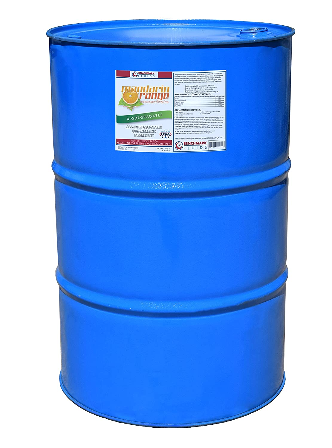 Benchmark Fluids 55 Gallon Drum Mandarin Orange - All Purpose Citrus Cleaner and Degreaser Concentrate, 55 gal
