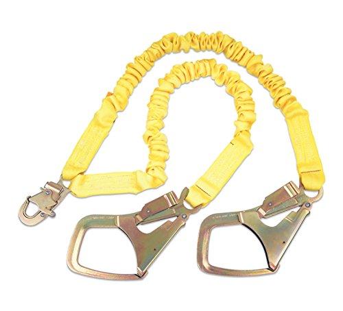 3M DBI-SALA,ShockWave 2 1244448 Shock Absorbing Lanyard, 6' 100 Percent Tie-Off with Elastic Web and Snap Hook At Center, Saflok-Max Steel Rebar Hooks At Leg Ends, Yellow