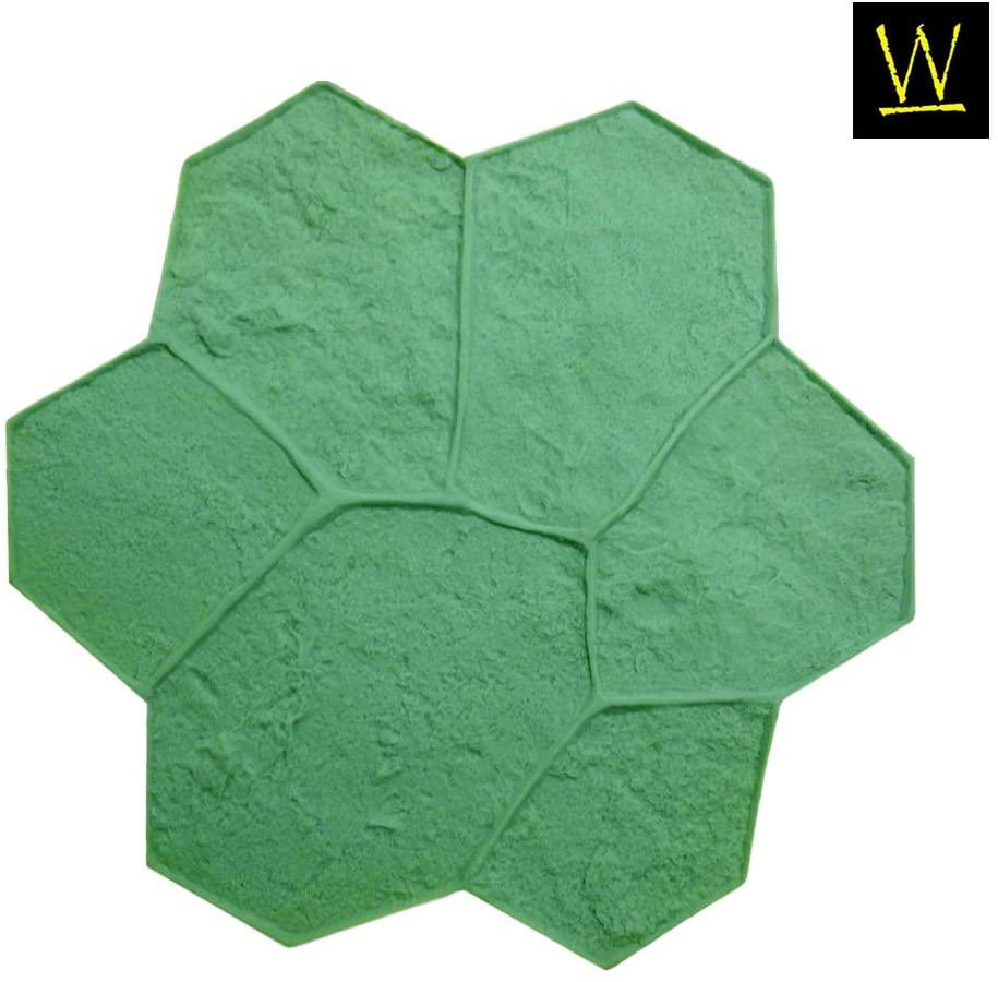 Random Rock Concrete Stamp Single by Walttools | Decorative Stone Tile Pattern, Sturdy Polyurethane Texturing Mat, Realistic Detail (Green, Rigid)